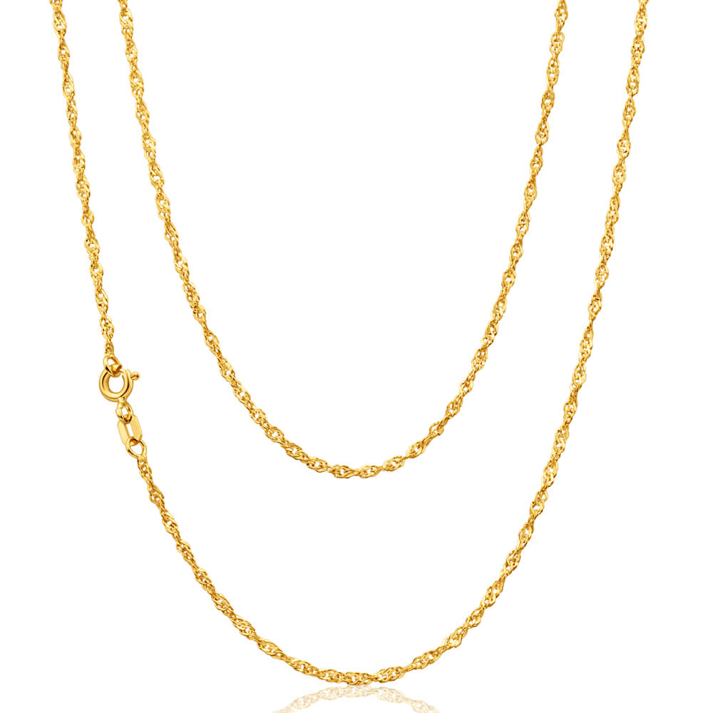 9ct Yellow Gold Silver Filled Singapore 45cm Chain30 Gauge