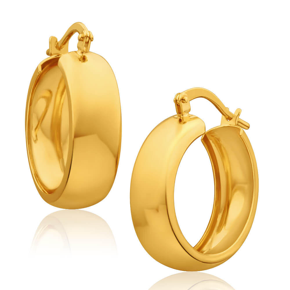 9ct Yellow Gold Silver Filled Plain 6x16mm Hoop Earrings