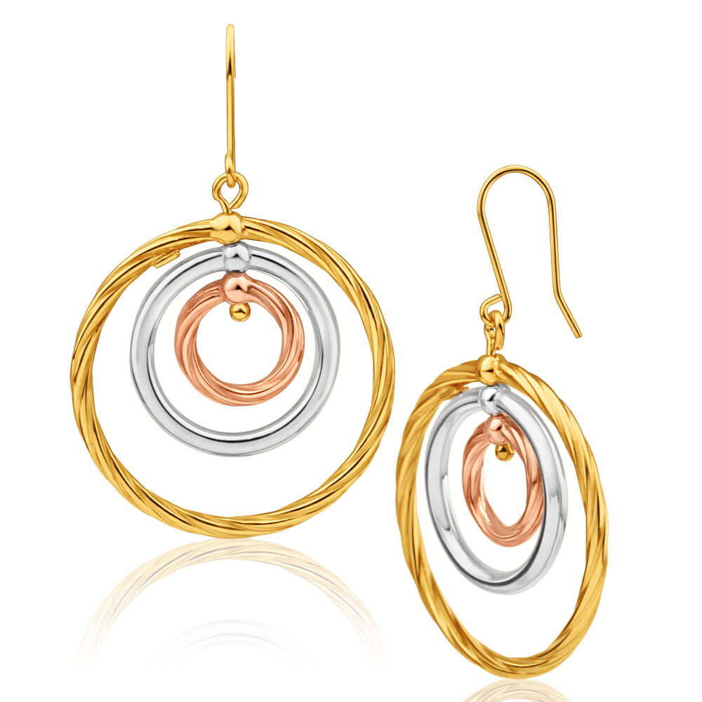 9ct Yellow Gold Silver Filled Three Tone Three Circle Drop Earrings