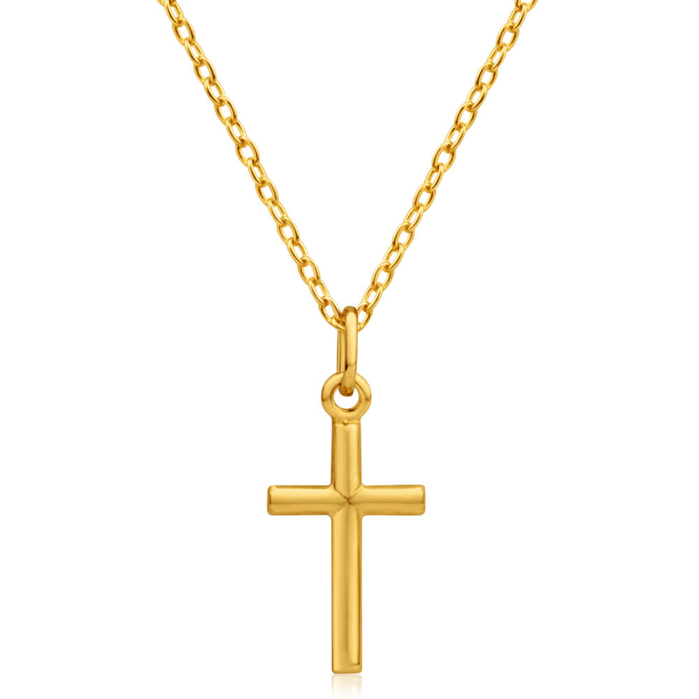 9ct Yellow Gold Silver Filled Barrel Cross 17mm Pendant