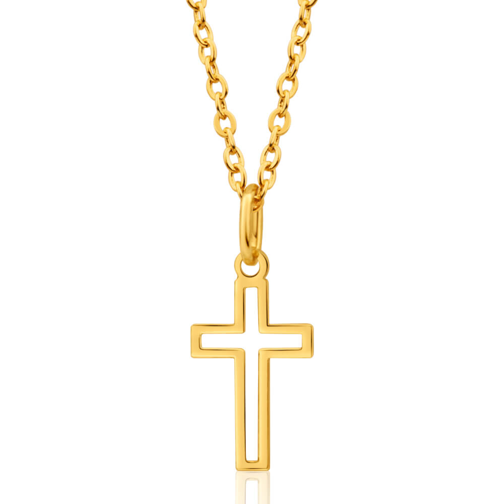 9ct Yellow Gold Silver Filled Open Cross 19mm Pendant