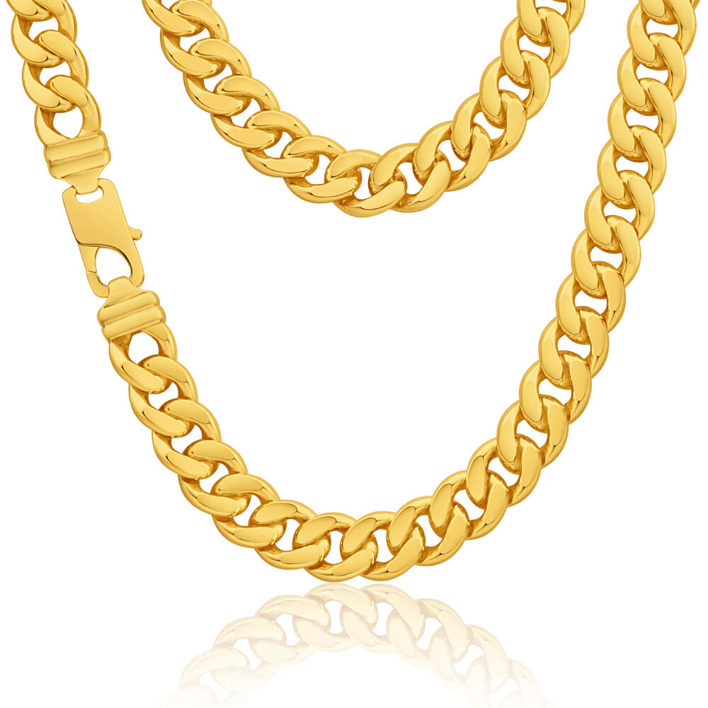 9ct Yellow Gold Silver Filled Flat 55cm Elegant Curb Chain