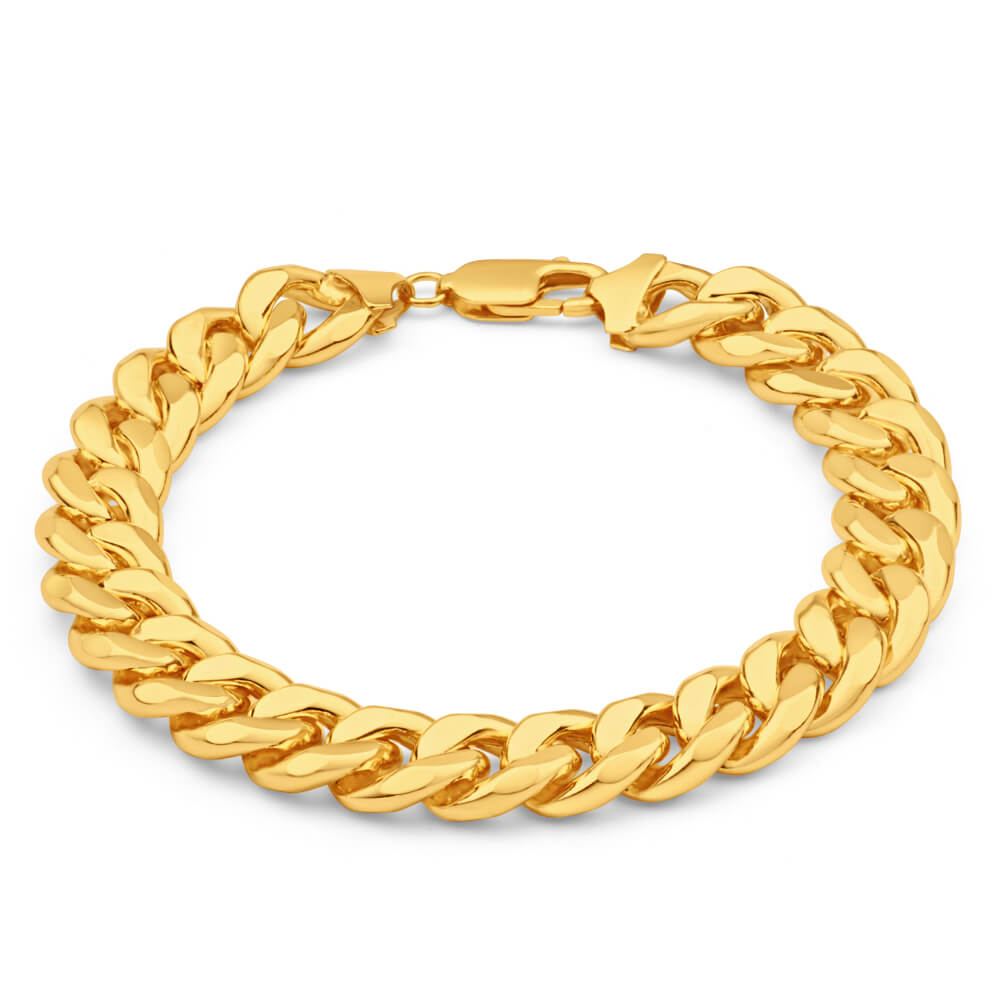 9ct Yellow Gold Silver Filled Concave 21cm Curb Bracelet
