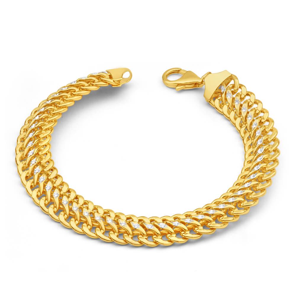 9ct Yellow Gold Silver Filled Mesh Figure 8 Two Tone 19cm Fancy Bracelet