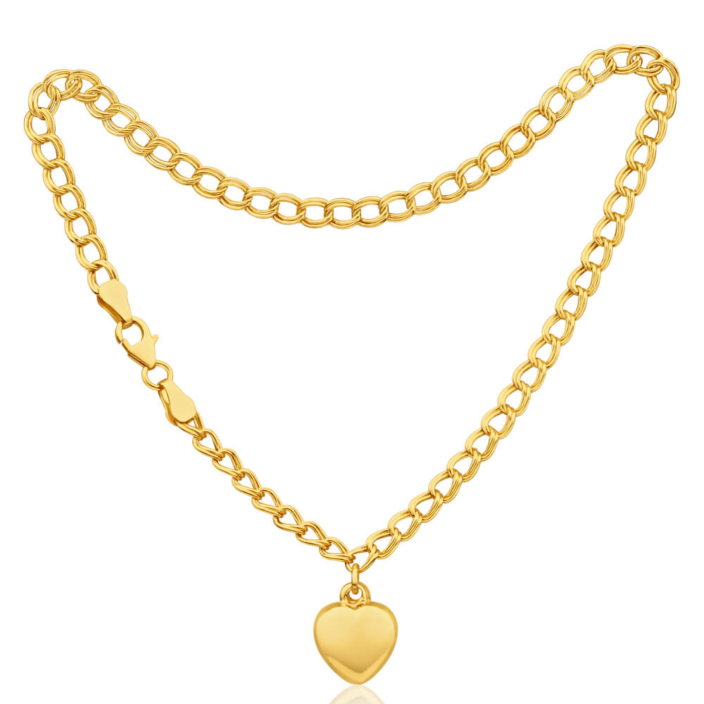 9ct Yellow Gold Silver Filled Heart 27cm Curb Anklet