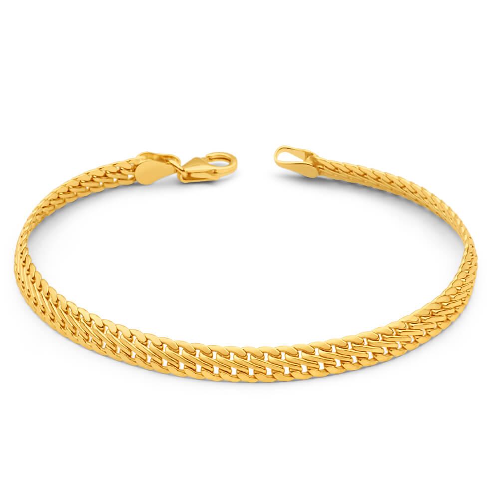9ct Yellow Gold Silver Filled 19cm Delicate Fancy Bracelet