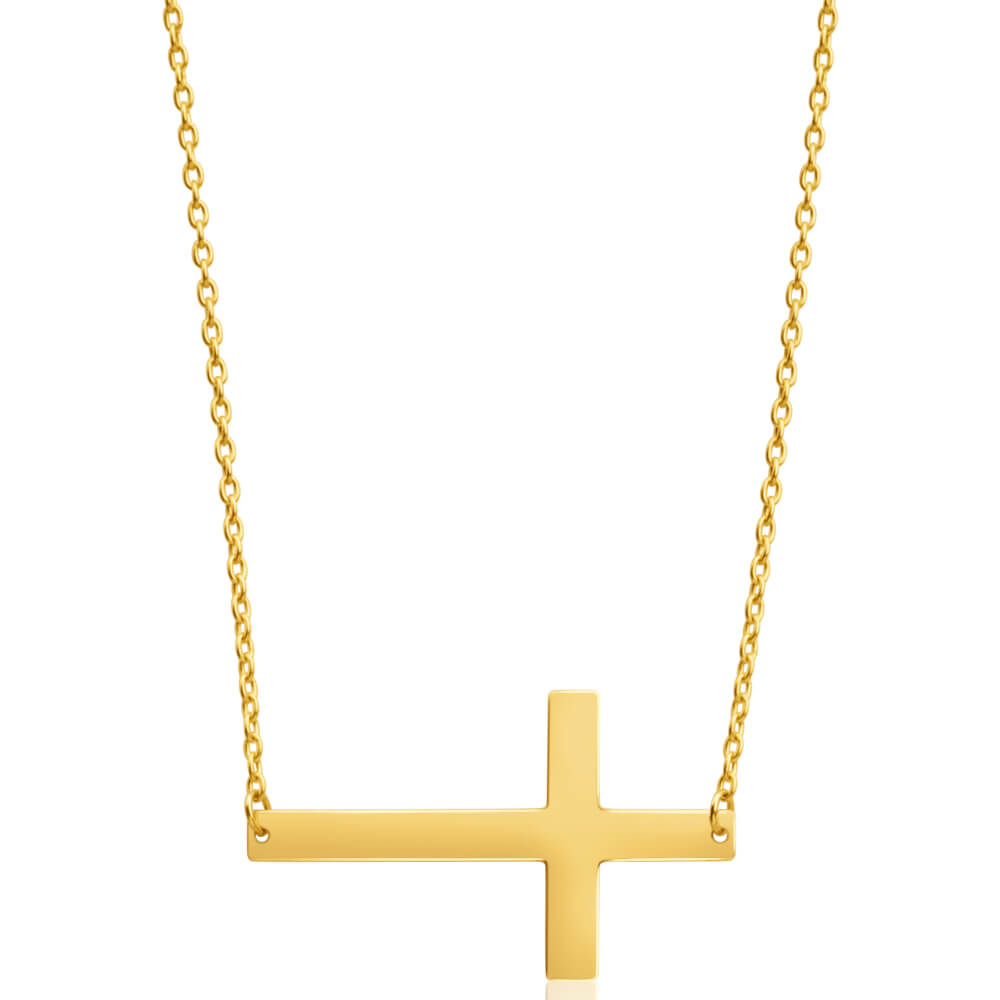 9ct Yellow Gold Silver Filled Fancy Crucifix Pendant on 45cm Chain