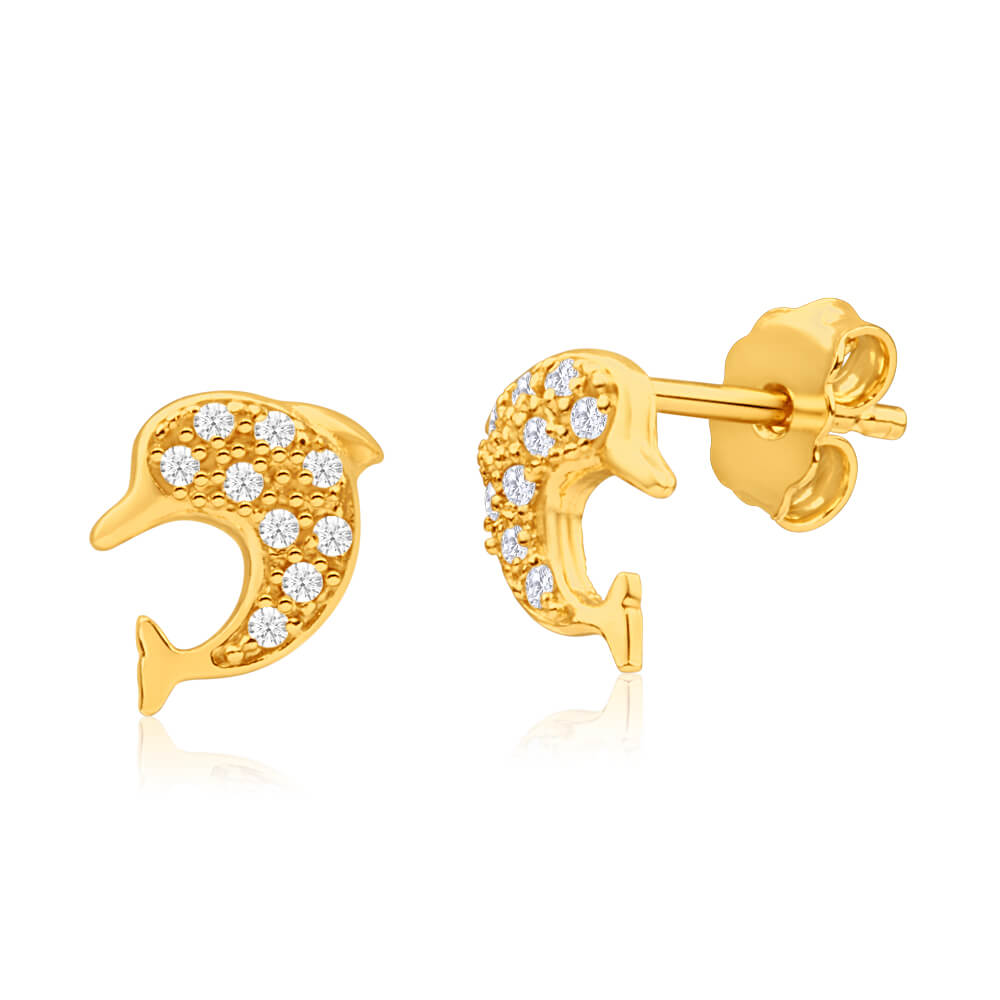 9ct Yellow Gold Silver Filled Cubic Zirconia Dolphin Stud Earrings