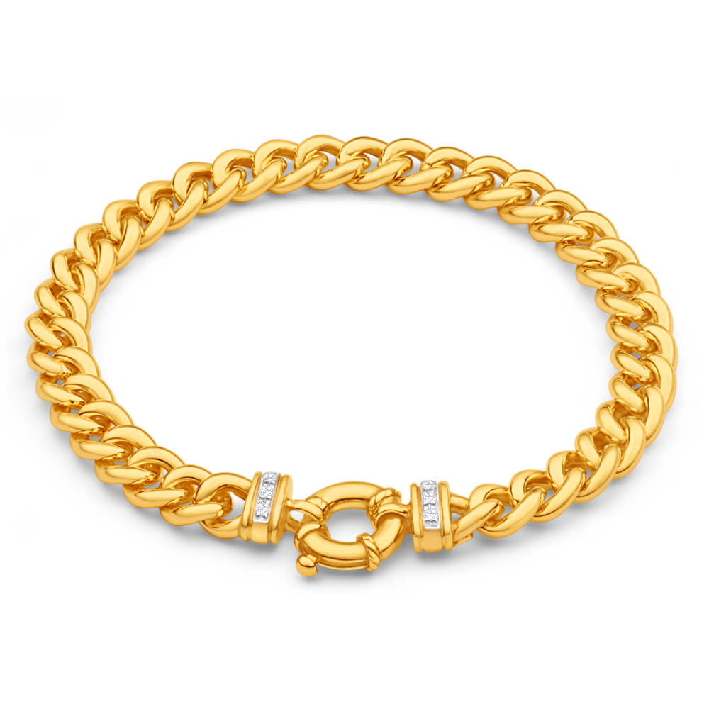 9ct Yellow Gold Silver Filled Cubic Zirconia 20cm Curb Bracelet