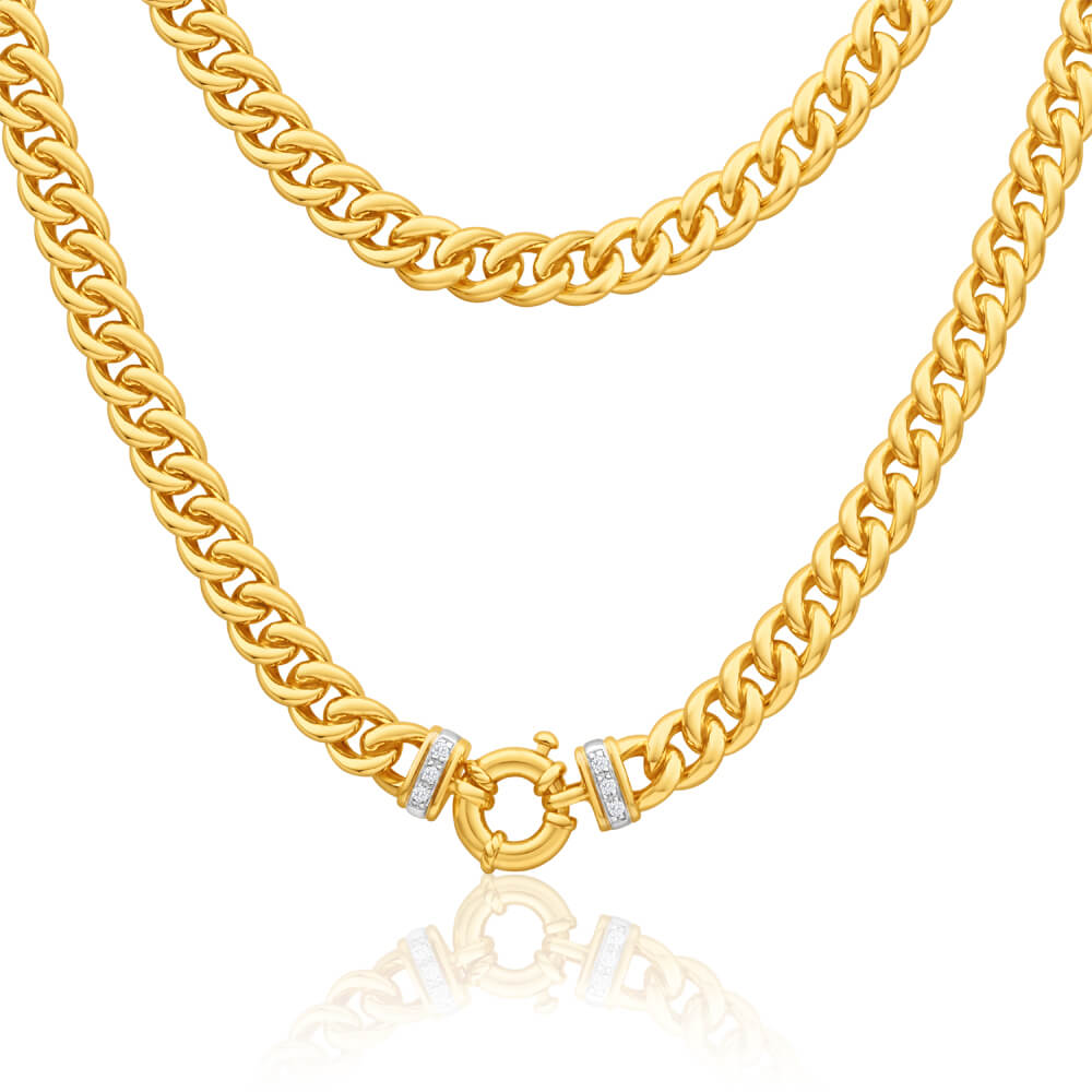 9ct Yellow Gold Silver Filled Cubic Zirconia Curb Chain