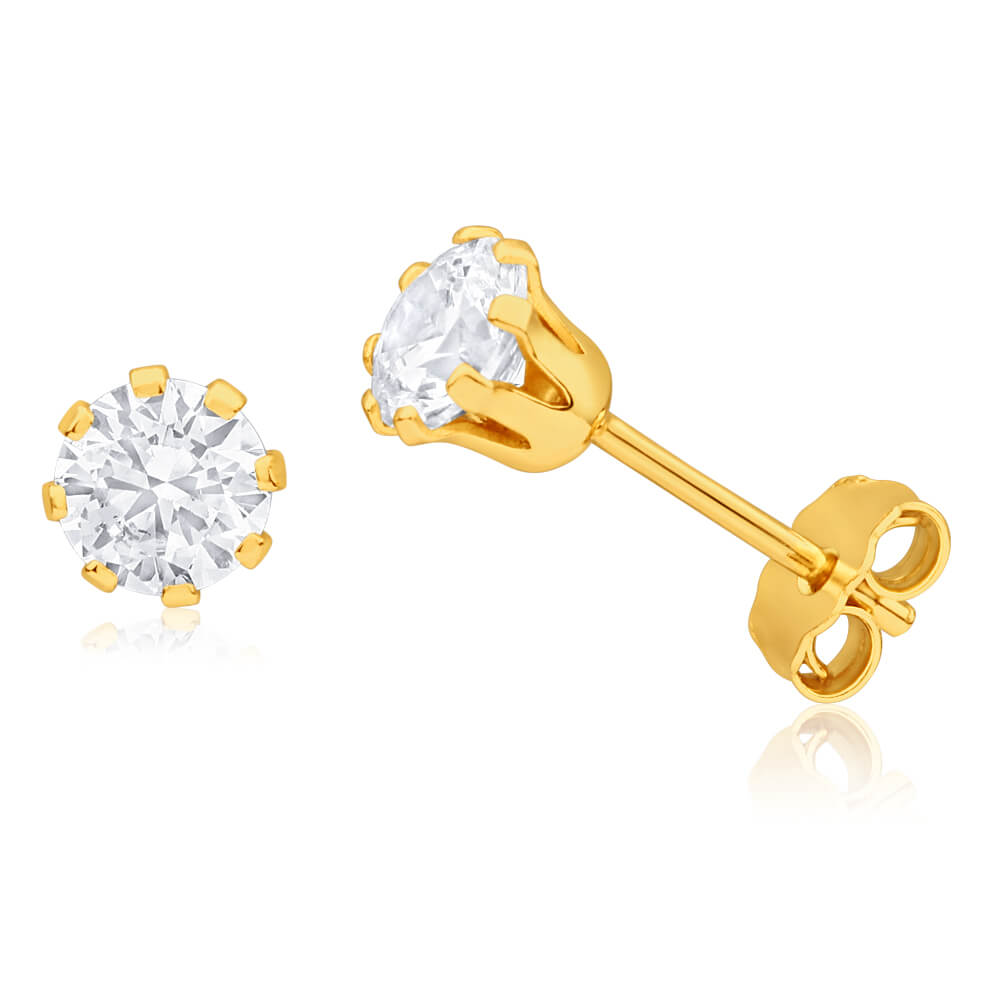 9ct Yellow Gold Silver Filled Cubic Zirconia 5mm Stud Earrings