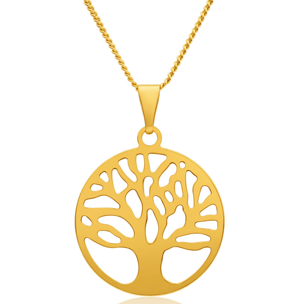 9ct Yellow Gold Silver Filled Tree of Life 25mm Pendant