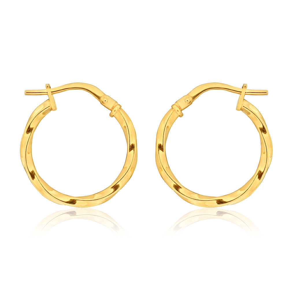 9ct Yellow Gold Silver Filled 15mm Twist Hoop Earrings
