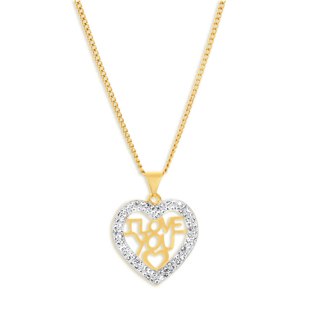 9ct Yellow Gold Silver Filled Crystal I Love You Heart Pendant