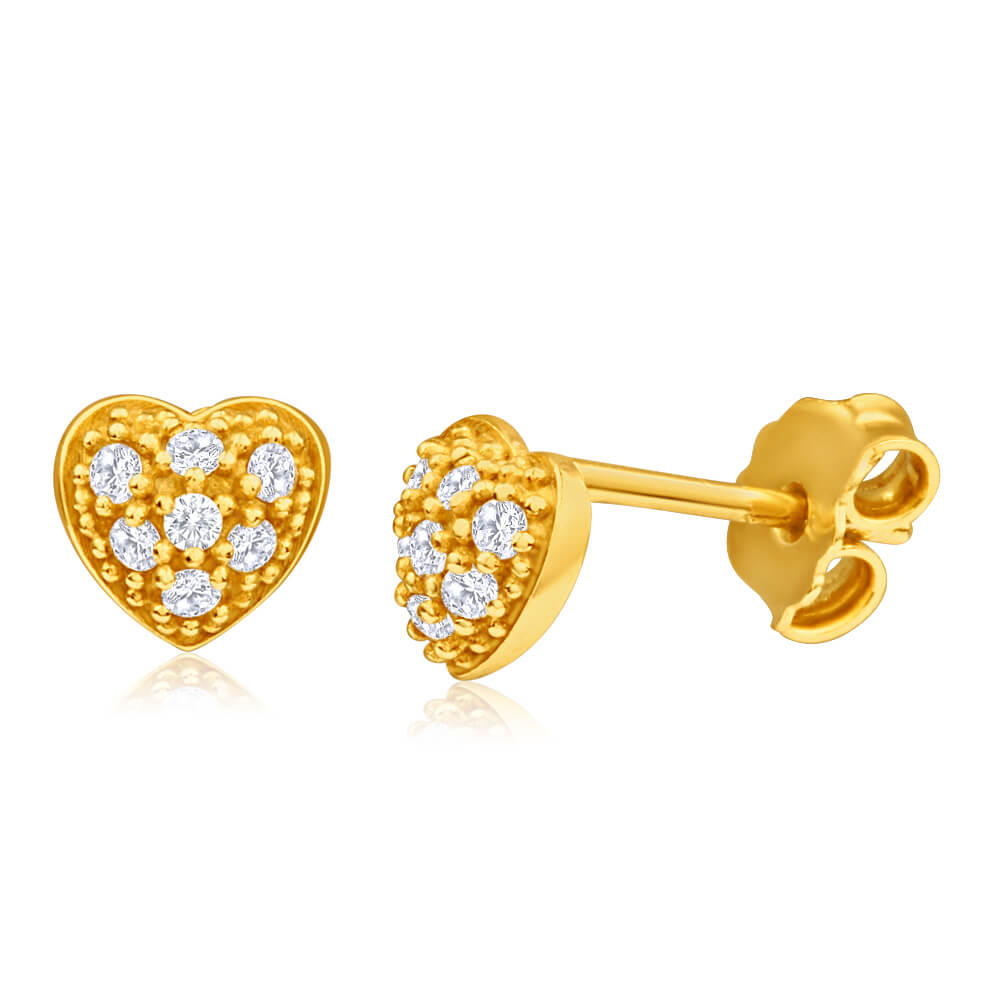 9ct Yellow Gold Silver Filled Cubic Zirconia Heart Shape Stud Earrings