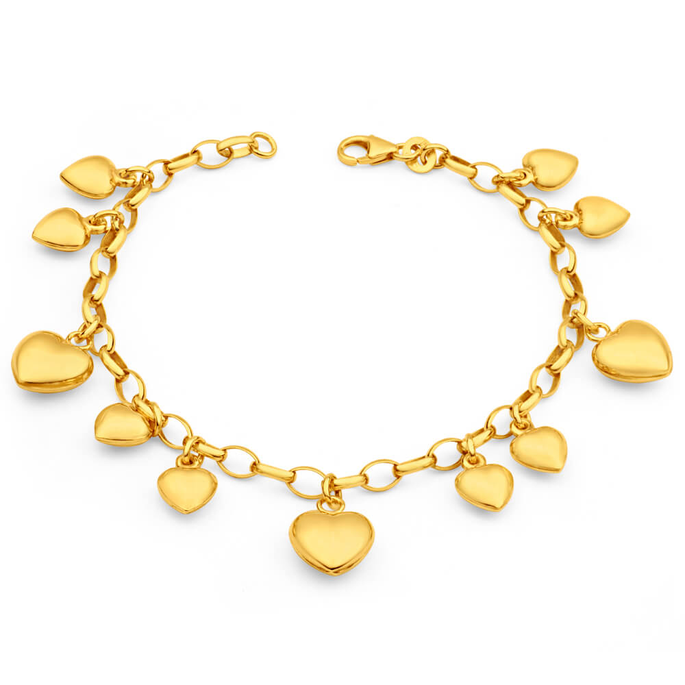 9ct Dazzling Yellow Gold Silver Filled Belcher Bracelet
