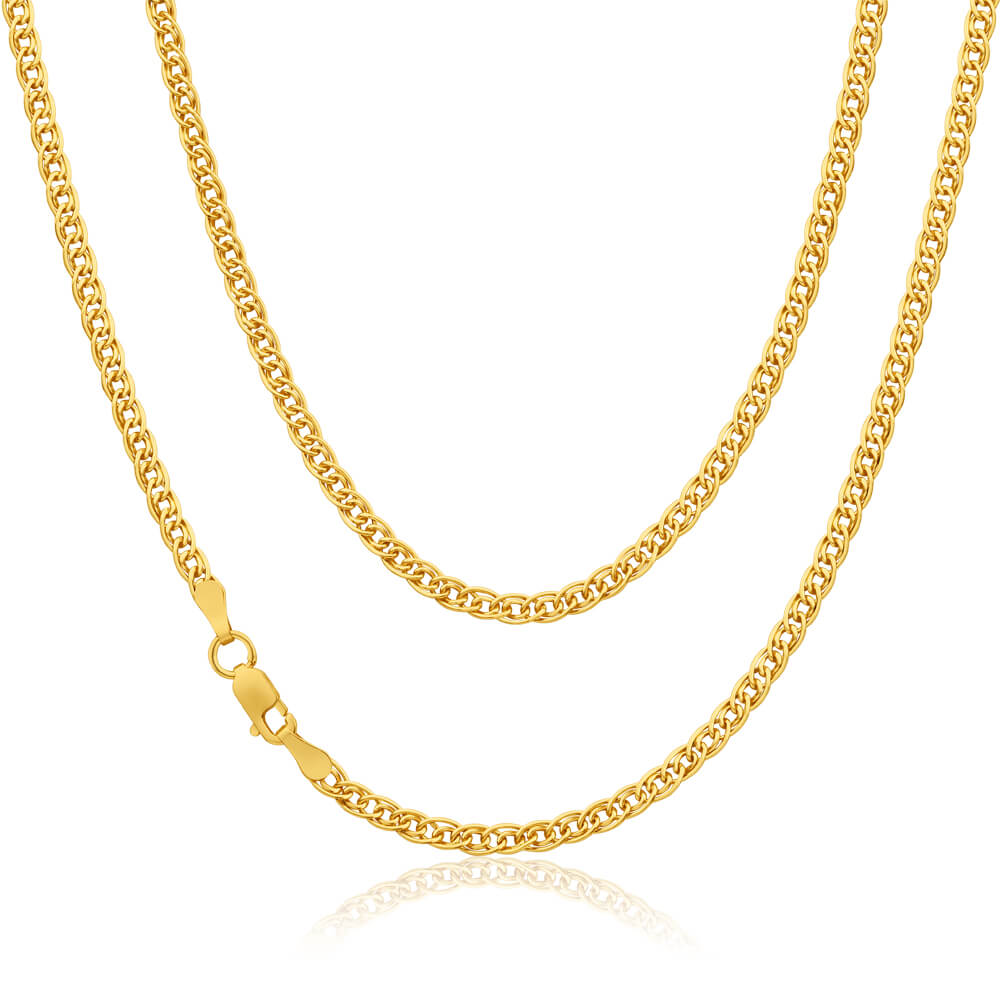 9ct Yellow Gold Silver Filled Double 45cm Curb Chain