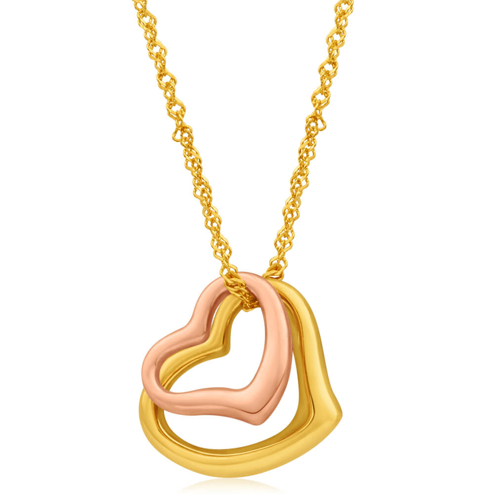 9ct Yellow Gold Silver Filled Open Hearts Pendant With 45cm Chain