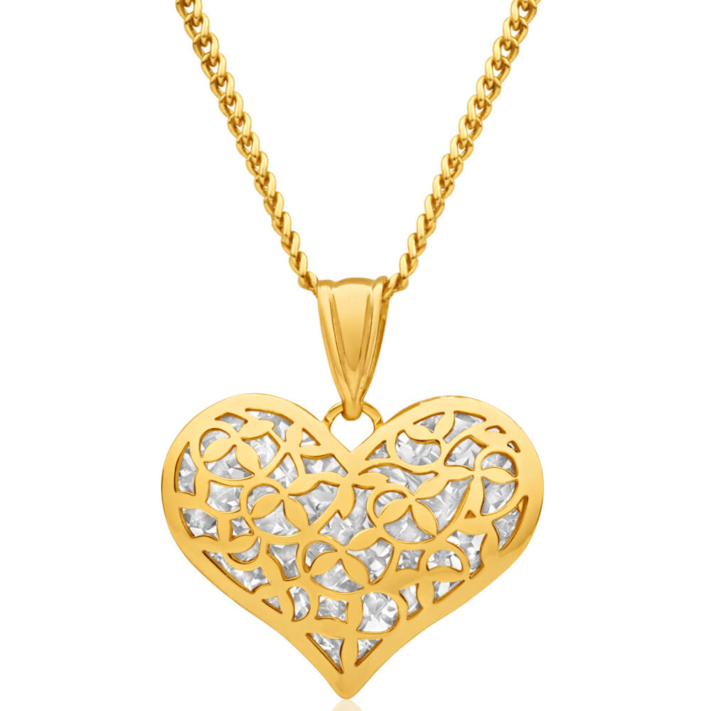 9ct Yellow Gold Silver Filled Diamond Cut Heart Pendant