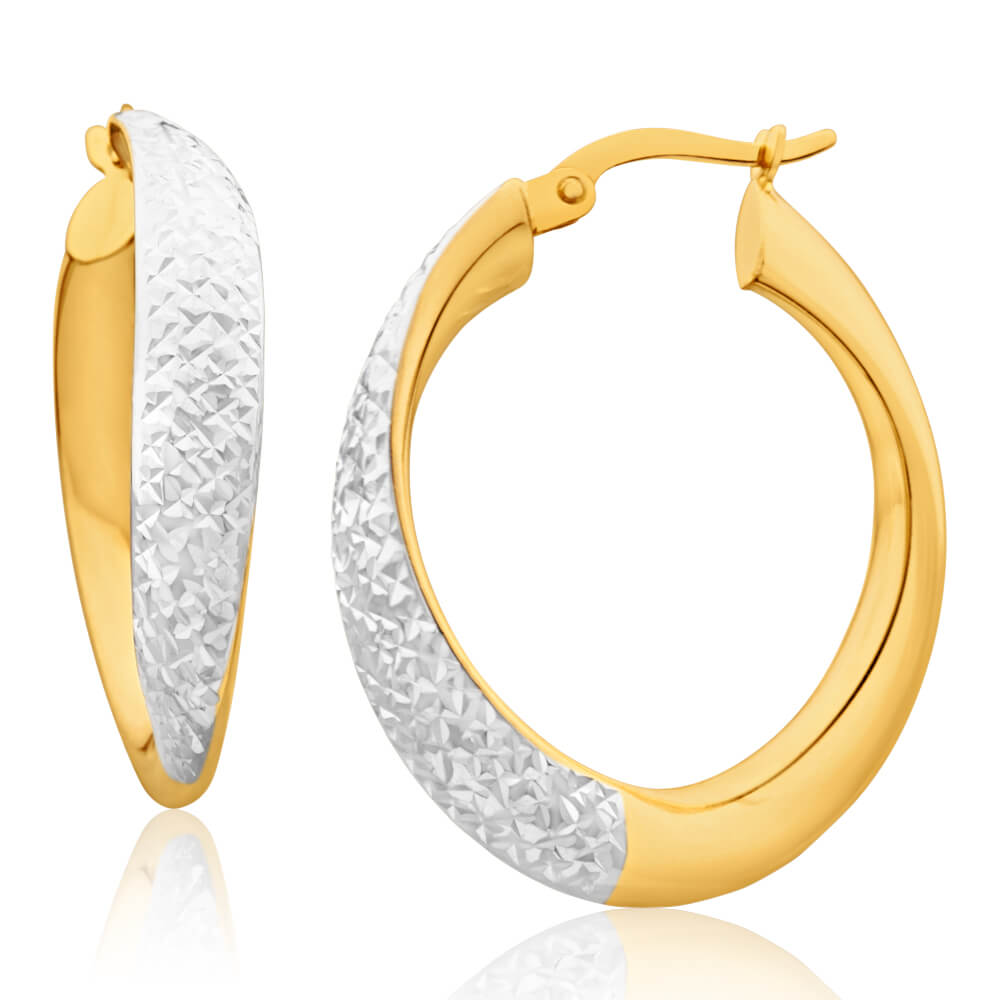 9ct Yellow Gold Silver Filled Diamond Cut Twist Hoop Earrings