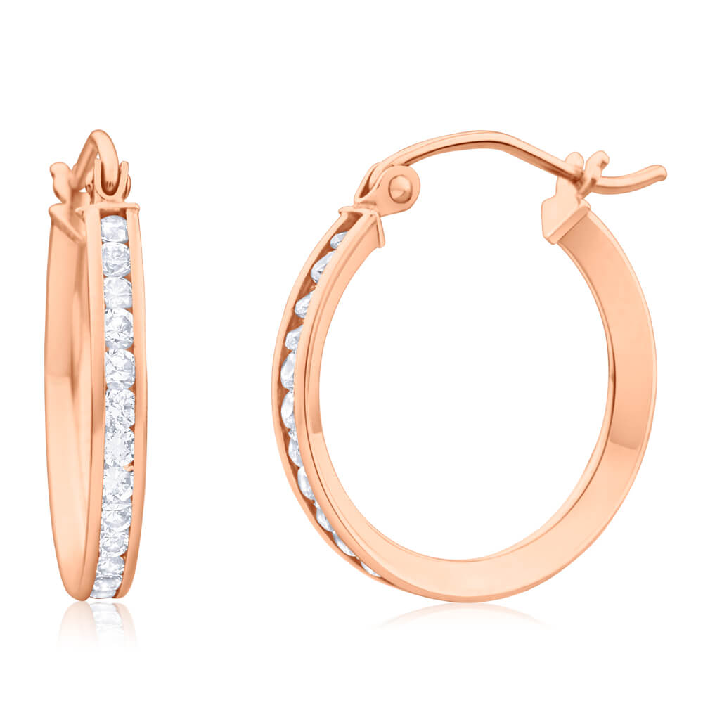 9ct Rose Gold Silver Filled Cubic Zirconia 18mm Chennel Hoop Earrings