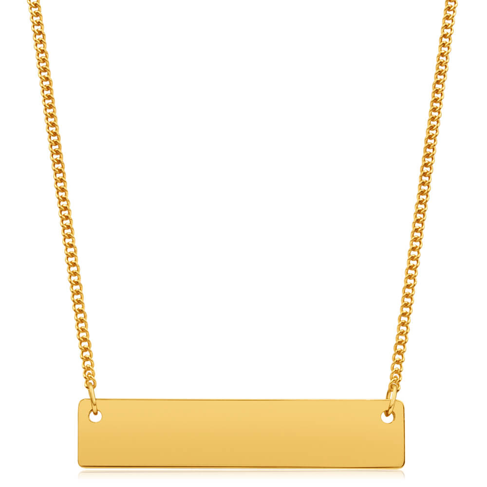 9ct Yellow Gold Silver Filled Bar Pendant With 45cm Chain