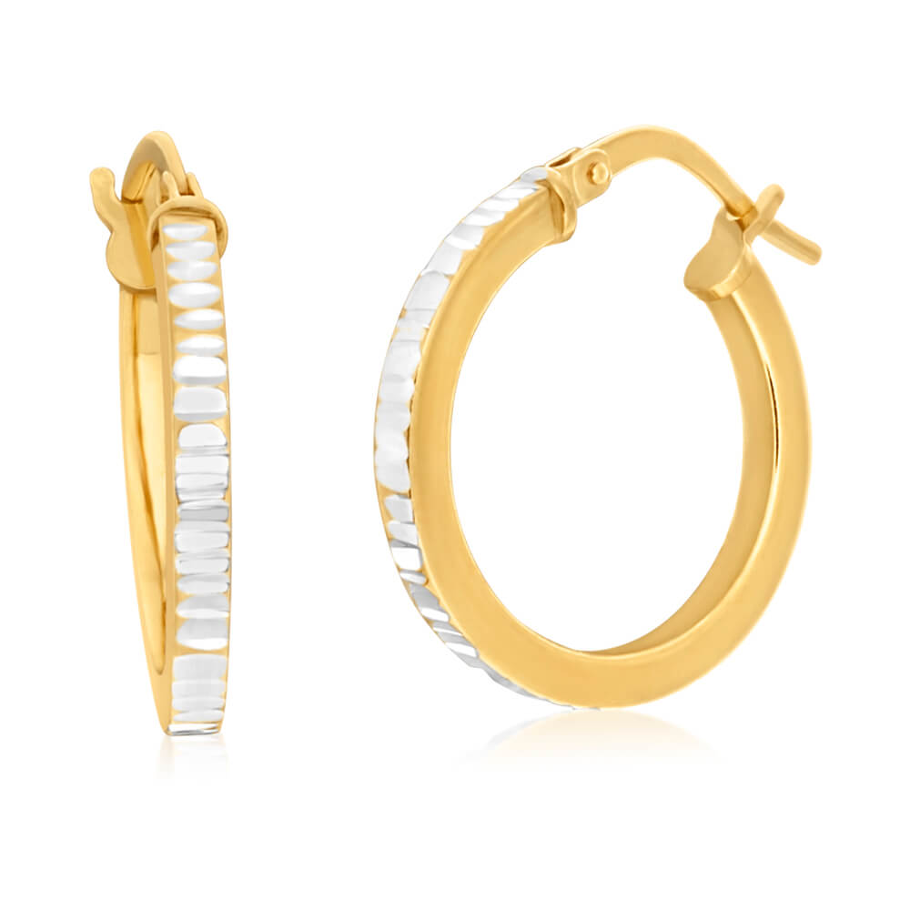 9ct Yellow Gold Silver Filled 15mm Diamond Cut Hoop Earrings