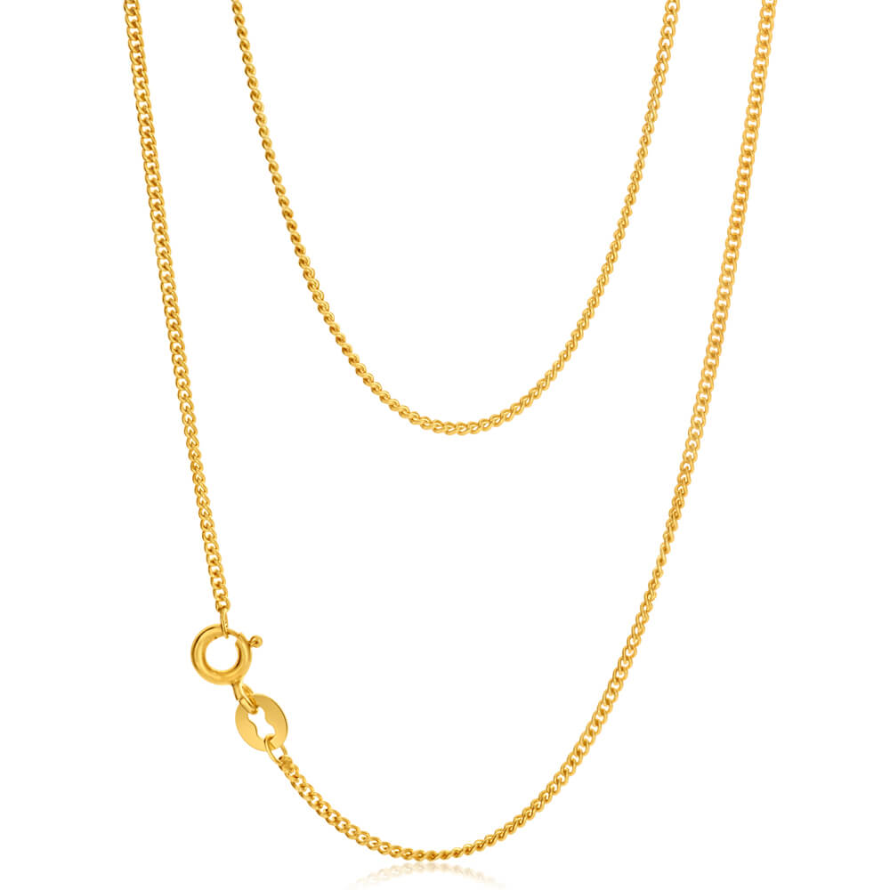 9ct Yellow Gold Silver Filled Delicate 45cm Curb Chain
