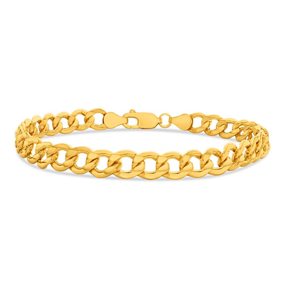 9ct Yellow Gold Silver Filled 21cm Diamond Cut Curb Bracelet