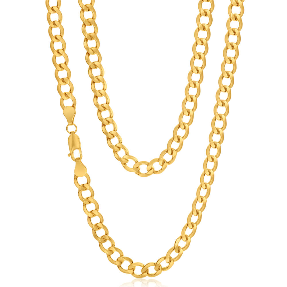 9ct Yellow Gold Silver Filled 55cm Curb Chain