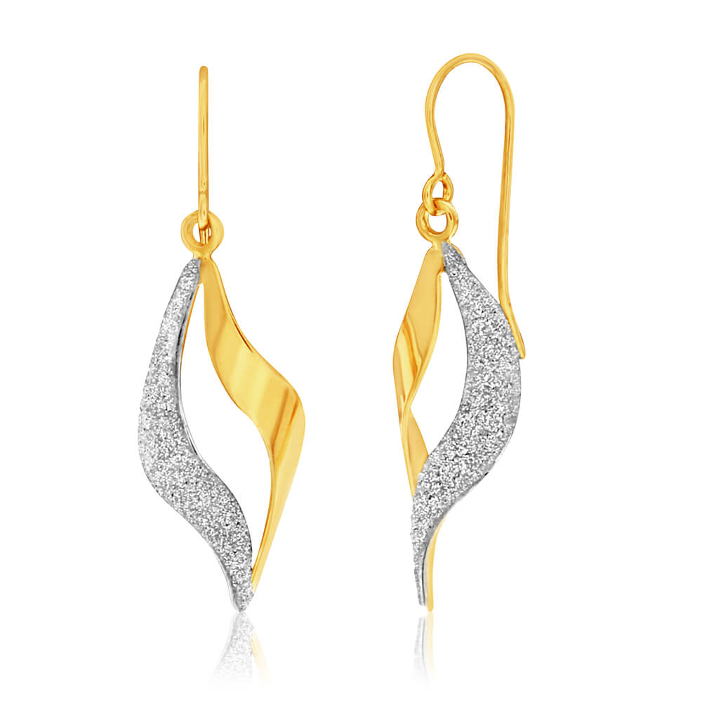 9ct Yellow Gold Silver Filled Stardust Twist Drop Earrings