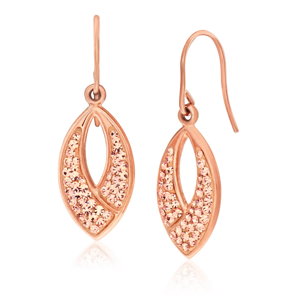 9ct Rose Gold Silver Filled Crystal Drop Earrings
