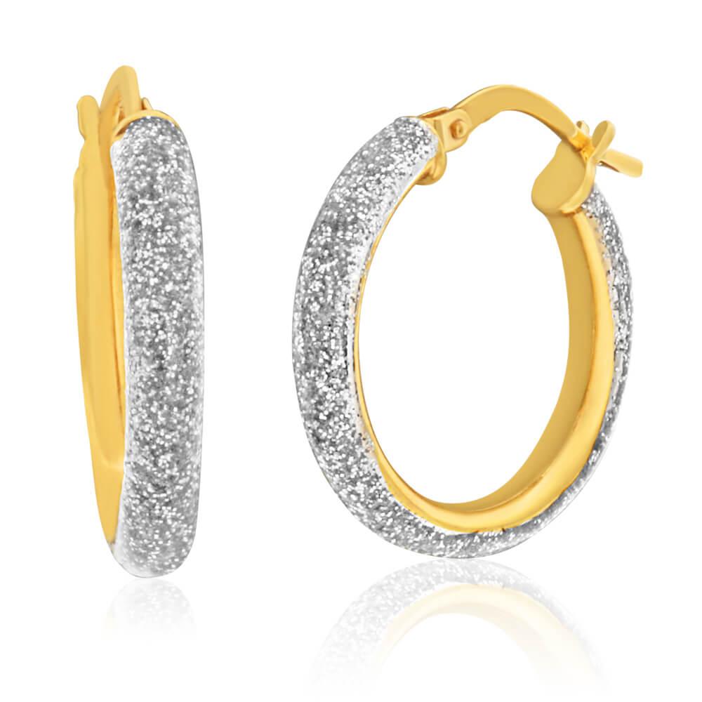 9ct Yellow Gold Silver Filled Stardust Enamel 15mm Hoop Earrings