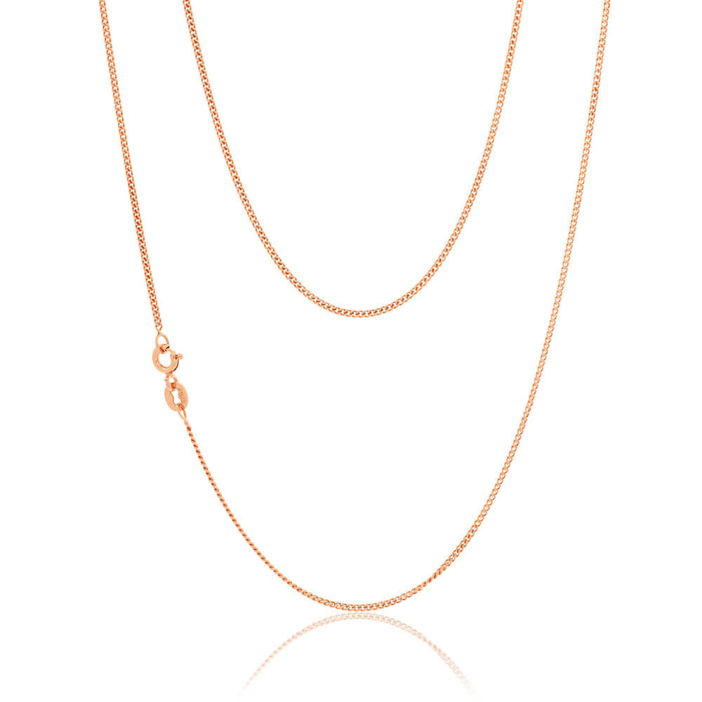 9ct Rose Gold Silver Filled 45cm Curb Chain