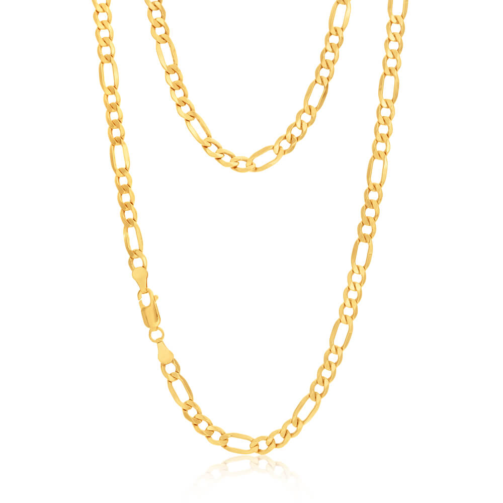 9ct Yellow Gold Silver Filled 55cm Figaro Chain 120 Gauge