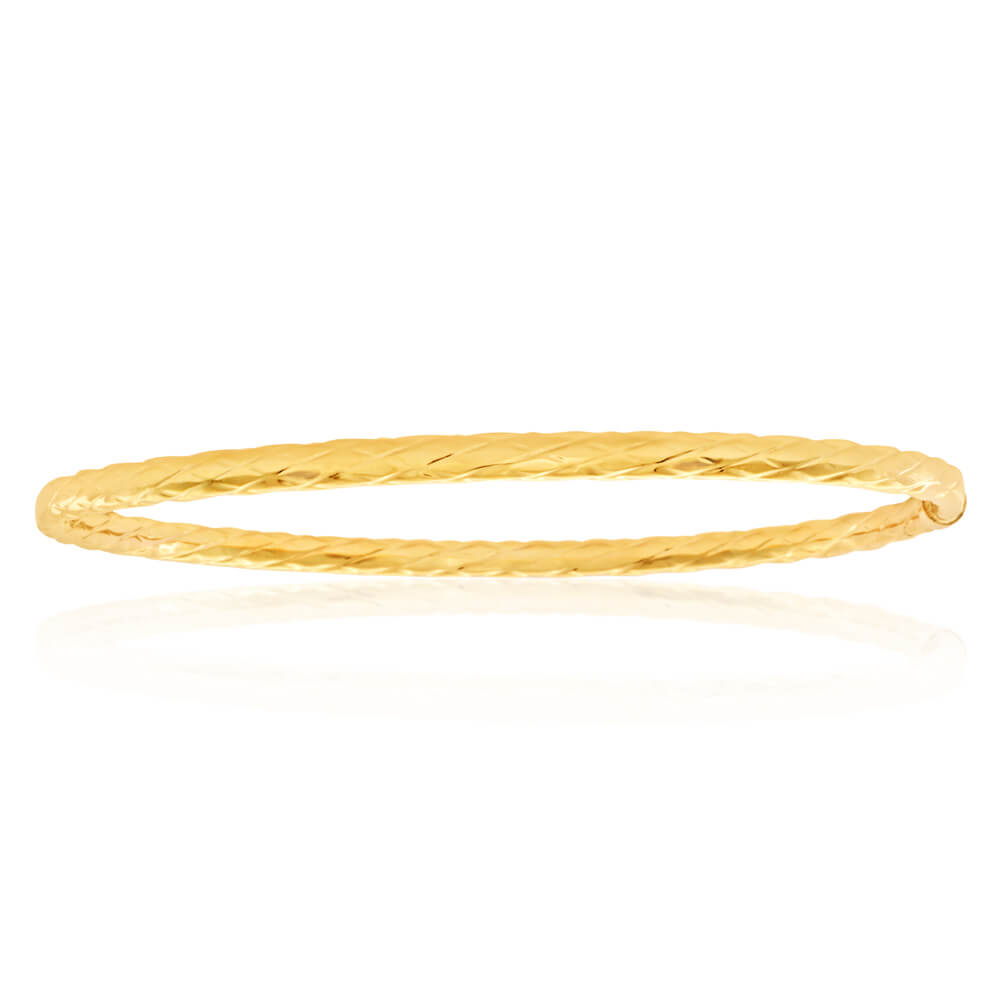 9ct Yellow Gold Silver Filled 67cm Bangle
