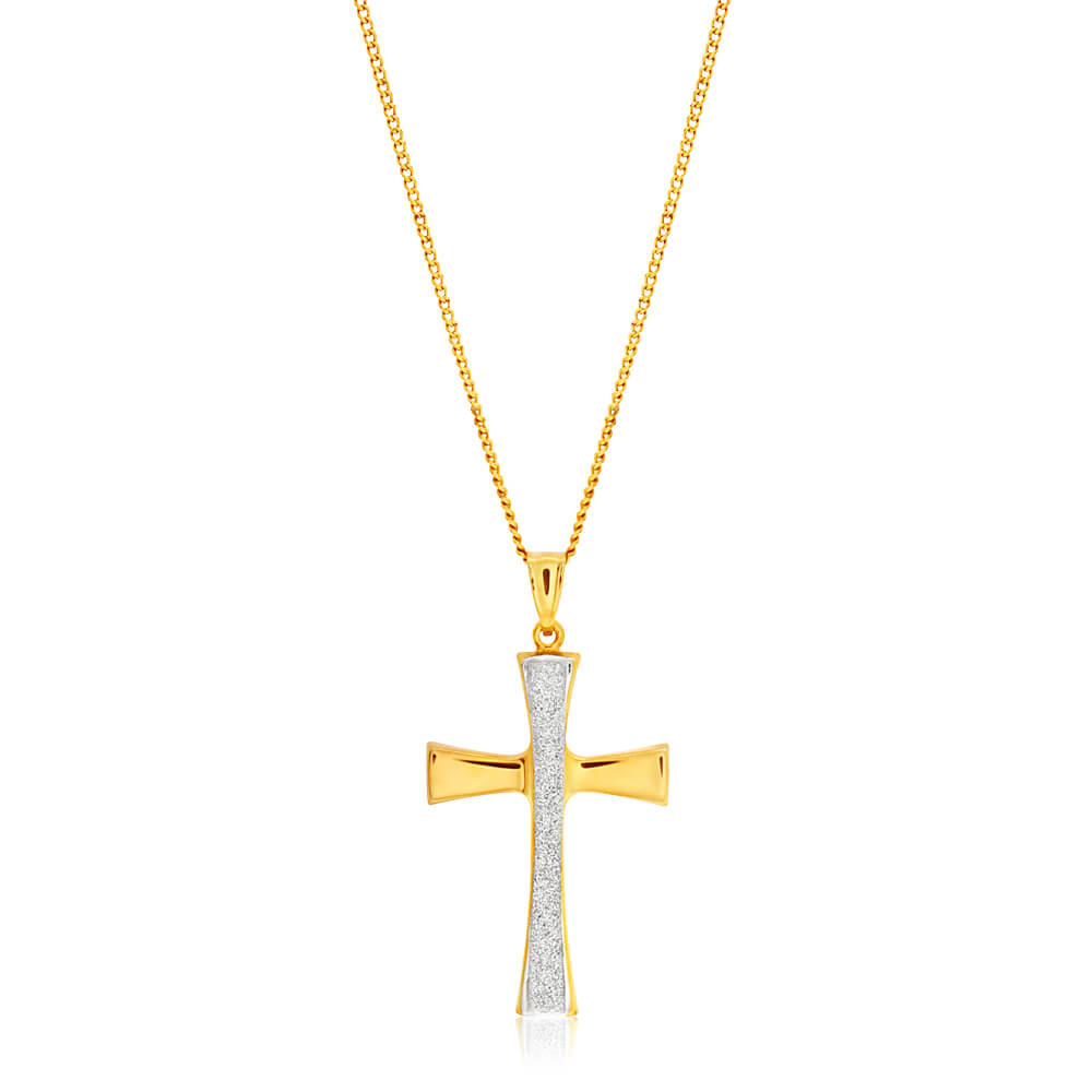 9ct Yellow Gold Silver Filled Stardust Cross Pendant