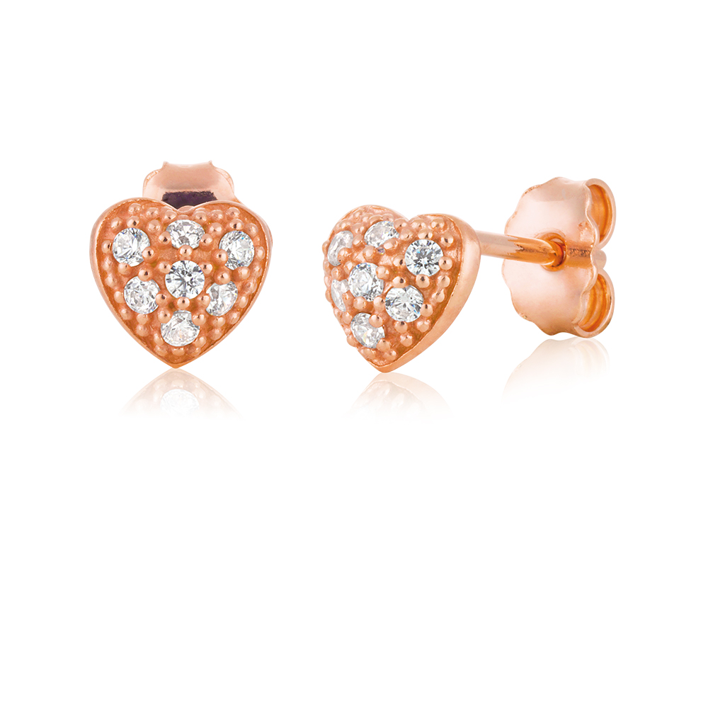 9ct Rose Gold Silver Filled Heart Cubic Zirconia Studs