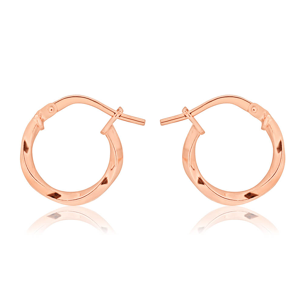 9ct Rose Gold Silver Filled 10mm Twist Hoop Earrings