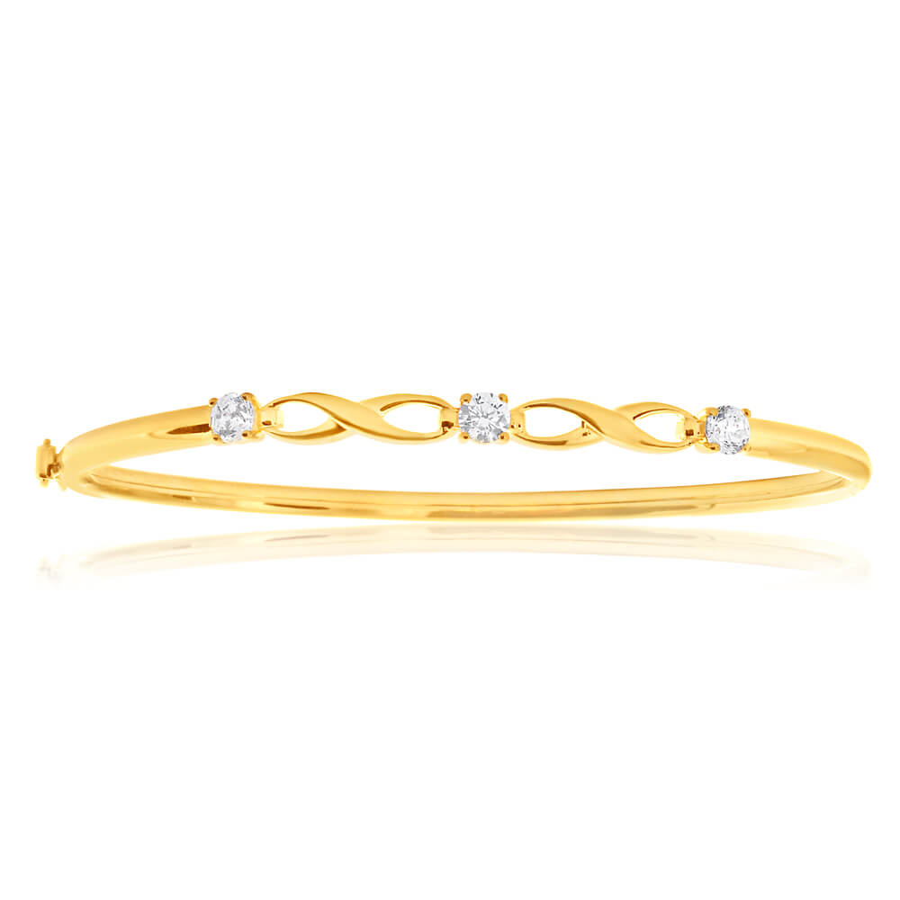 9ct Yellow Gold Silver Filled Infinity White Cubic Zirconia Hinge Bangle 61mm