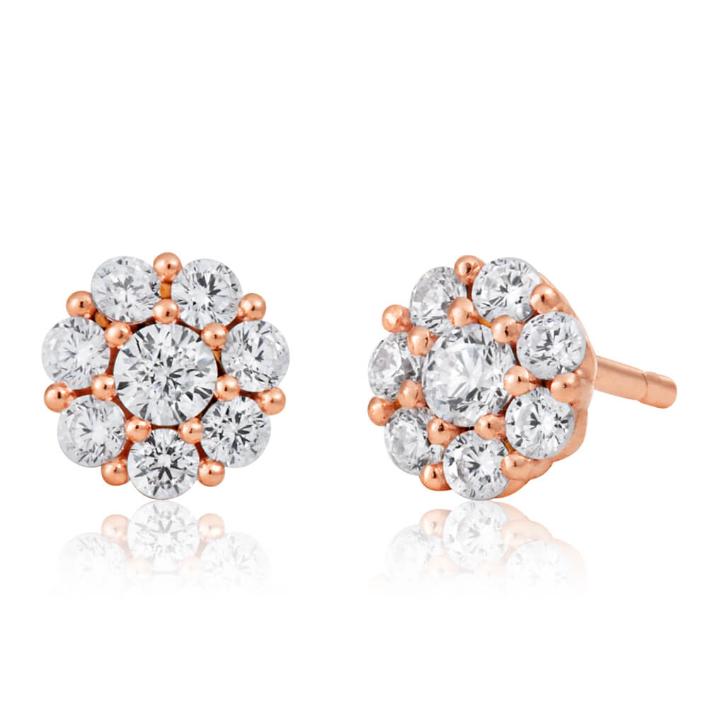 9ct Rose Gold Silver Filled Cubic Zirconia Flower Studs