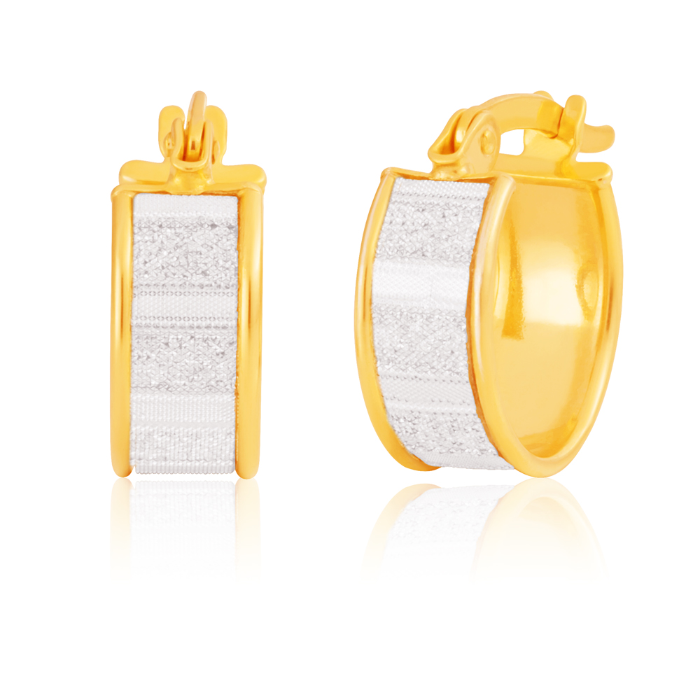9ct Yellow Gold Silver Filled 10mm Baguette Stardust Hoop Earrings