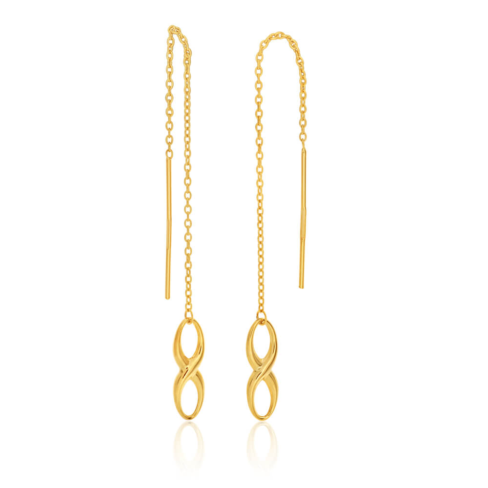 9ct Yellow Gold Silver Filled Infinity Thread Drop Earrings