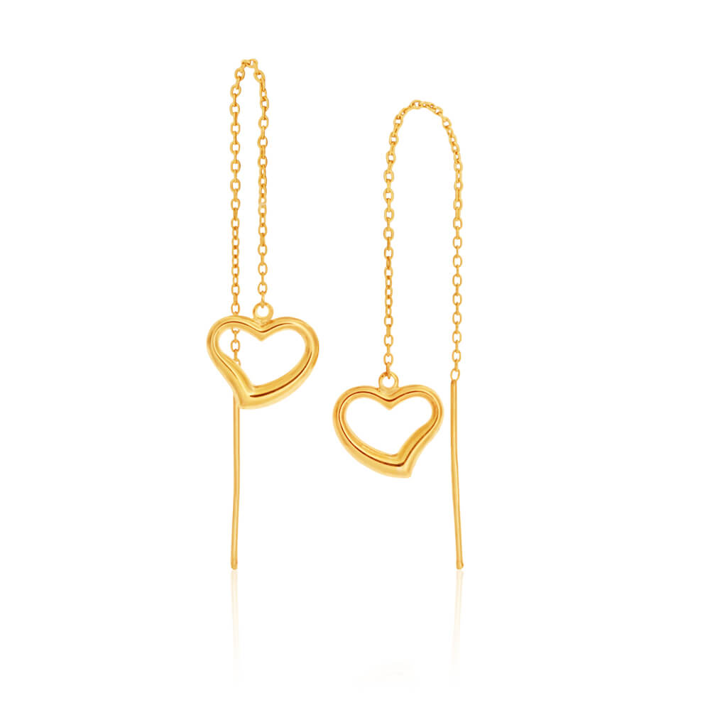 9ct Yellow Gold Silver Filled Heart Thread Drop Earrings