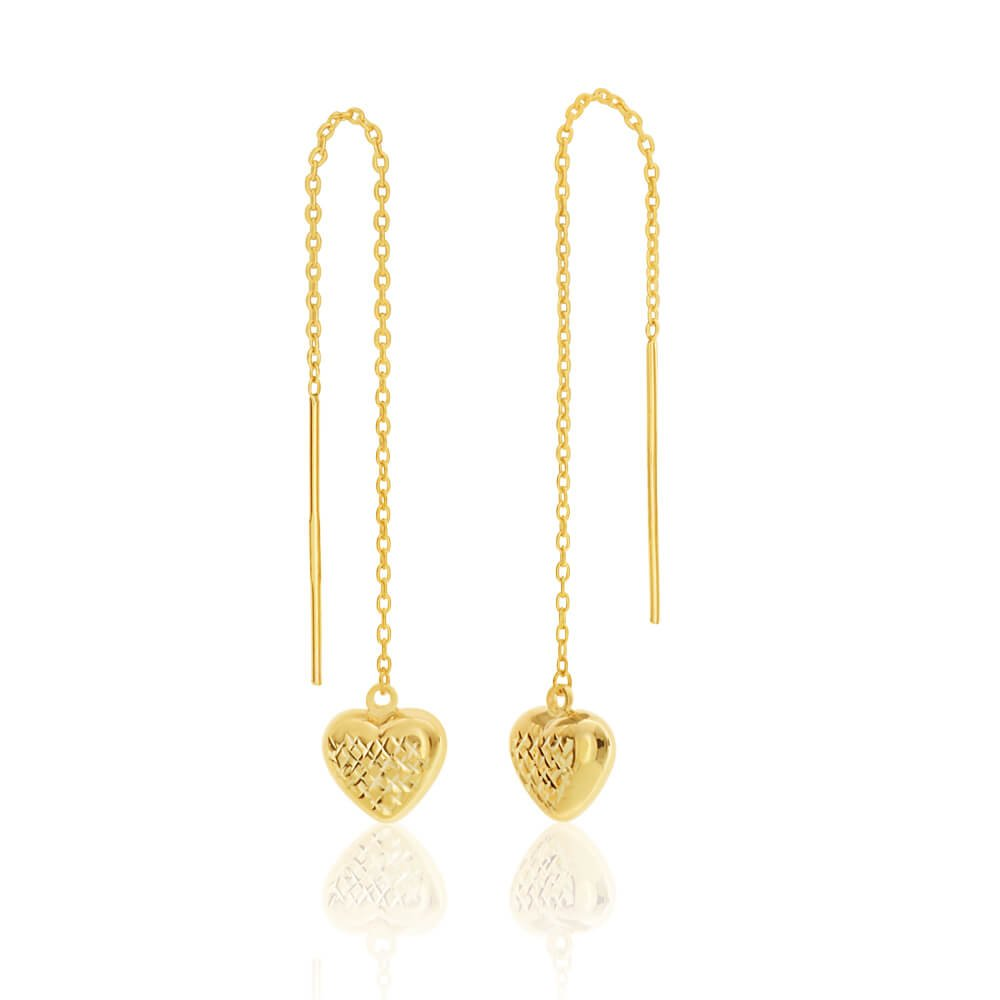 9ct Yellow Gold Silver Filled Heart Long Thread Drop Earrings
