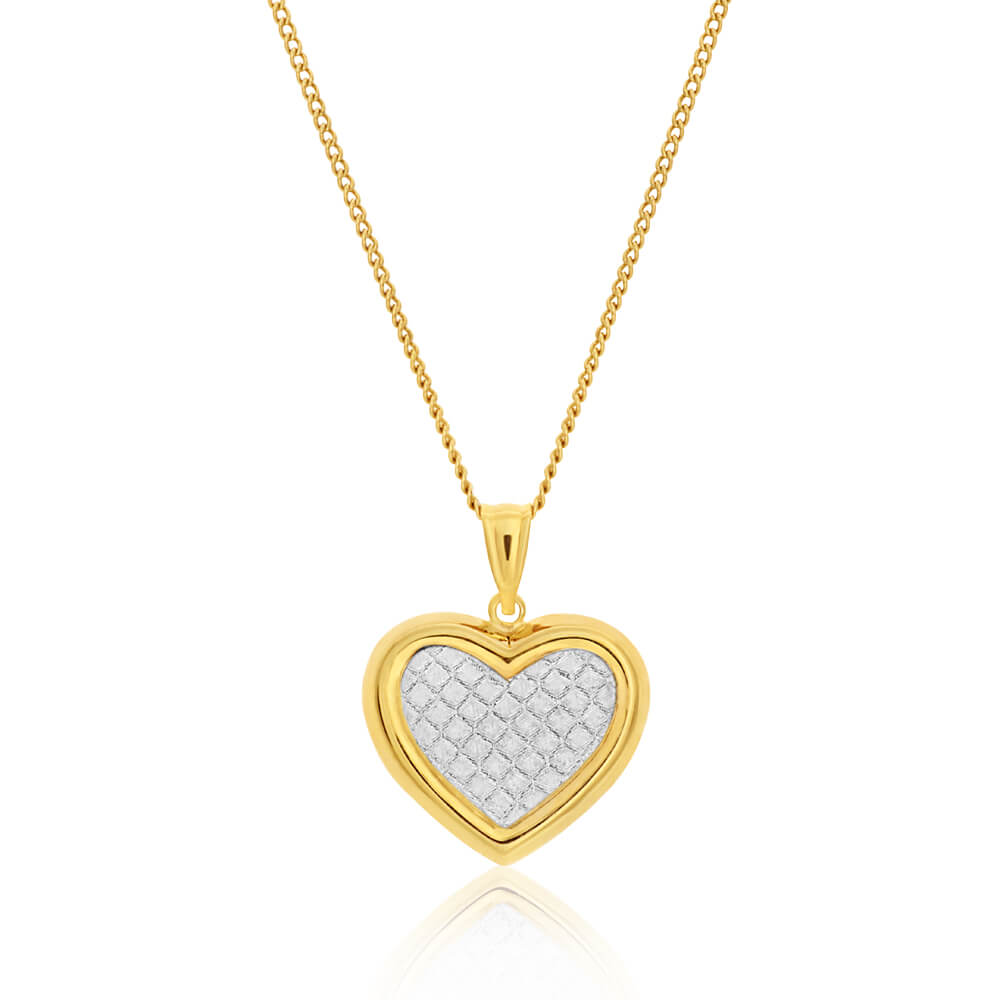 9ct Yellow Gold Silver Filled Stardust Puff Heart Pendant