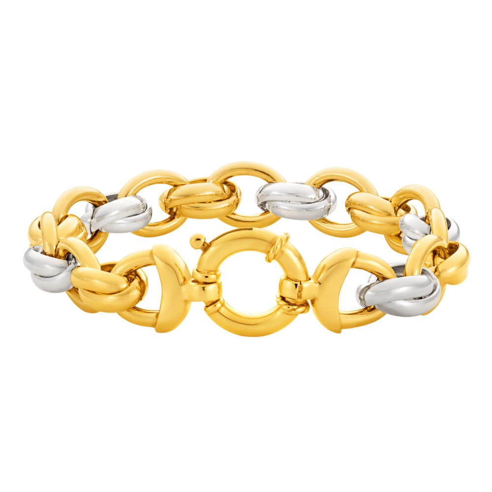9ct Yellow Gold & White Gold Silver Filled Fancy Bracelet