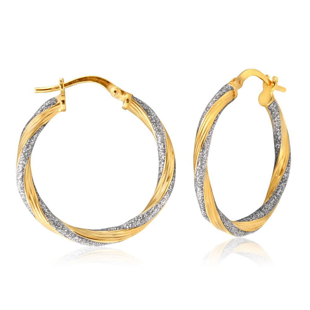 9ct Yellow Gold Silver Filled Twist Stardust Enamel Earrings in 20mm