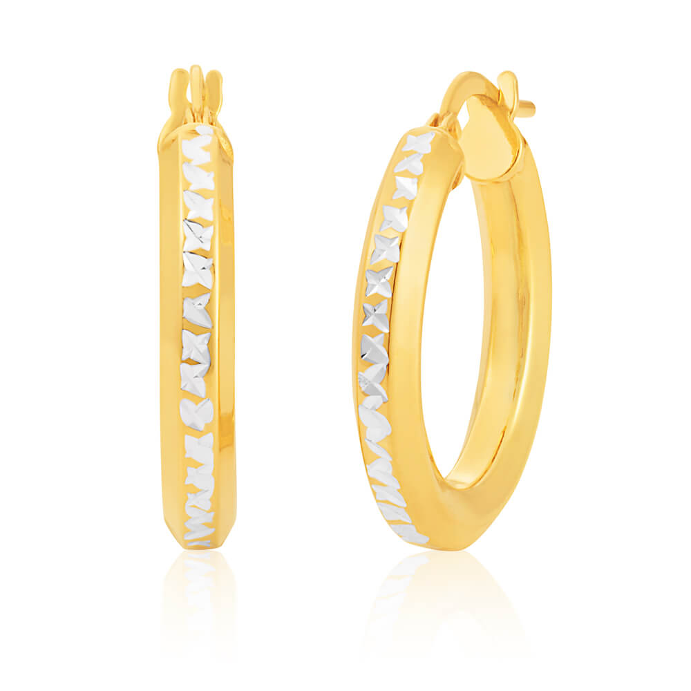 9ct Yellow Gold & White Gold Silver Filled Hoop Earrings