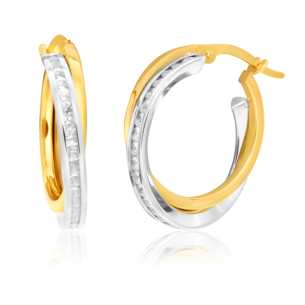 9ct White Gold Silver Filled Cubic Zirconia Hoop Earrings